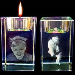 3D Crystal Laser Candle Holder
