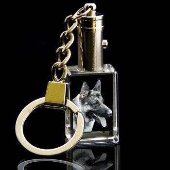 3D Light up Crystal Keyring / Keychain (30 x 20 x 15mm)